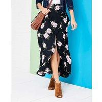 Print Mock Wrap Tie Waist Skirt