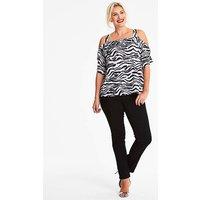 Quiz Curve Zebra Print Top