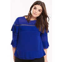 Truly You Pleated Ruffle Blouse.