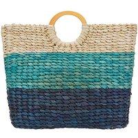 JD Williams Straw Blue Stripe Beach Bag KM87001