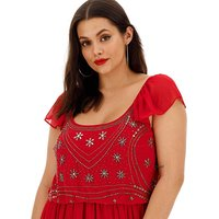 Joanna Hope Red Embellished Boho Dress