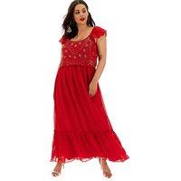 Joanna Hope Red Embellished Boho Dress