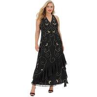 Joanna Hope Sequin Frill Hem Maxi Dress