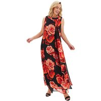 Joanna Hope Red Print Maxi Swing Dress