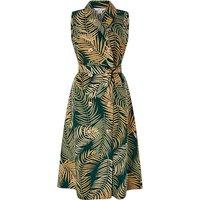 Monsoon Pama Palm Print Linen Midi Dress