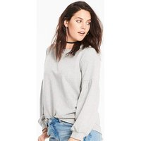 Grey Marl Balloon Sleeve Sweatshirt