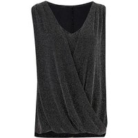 Black/Silver Sleeveless Wrap Top