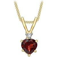 9Ct Gold Diamond & Garnet Necklace.