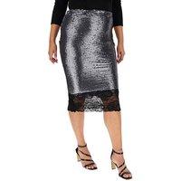 Lace Hem Sequin Pencil Skirt