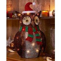 Festive LED Brown Sisal Owl