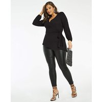 Black Side Tie Balloon Sleeve Top