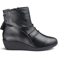 Leather Wedge Ankle Boots EEE Fit