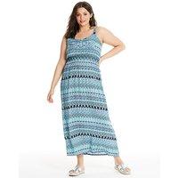 Apricot Blue Printed Maxi Dress