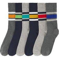 6 Pack Heel Stripe Ankle Socks.