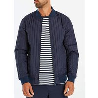 Navy Quilted Bomber Long.