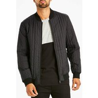 Black Quilted Bomber Long.