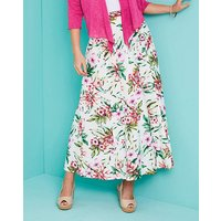 Printed Linen Mix Skirt 27in