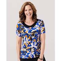 Print Jersey Top with Bow Detail