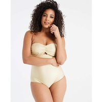 Gold Ruched Bandeau Swimsuit