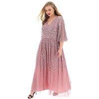 Maya Curve V Neck Sequin Maxi Dress