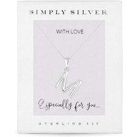 Simply Silver Alphabet Necklace Letter M.