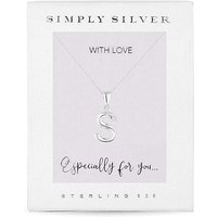 Simply Silver Alphabet Necklace Letter S.