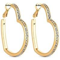 'Lipsy Gold Crystal Heart Hoop Earring