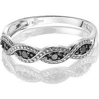 9ct Gold Black Diamond Crossover Ring