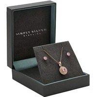 Simply Silver Pink Round Diamond Set.