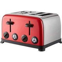 4 Slice Red Steel Toaster