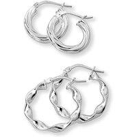 Sterling Silver Set 2 Hoop Earrings