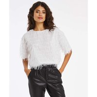 Joanna Hope Sequin Fringe Blouse.