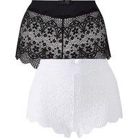 2 Pack Lottie Lace Black/White Briefs