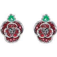 Rhodium plated crystal Poppy earrings.