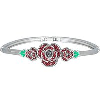 Rhodium plated crystal Poppy bangle.