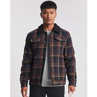 Check Trucker Jacket with Borg Collar.