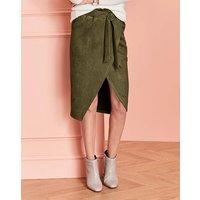 Paperbag Tie Waist Wrap Suedete Skirt