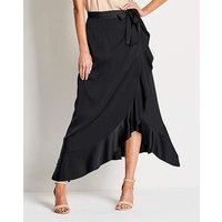 Frilled Edge Mock Wrap Satin Maxi Skirt