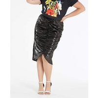 Ruched Sequin Midi Skirt