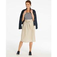 Tie Waist Cotton A Line Skirt