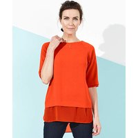 Orange Double Layer Longline Shell Top