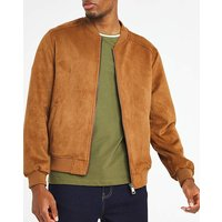 Tan Faux Suede Bomber Jacket