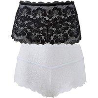 2pk Katie Black/white Lace Midi Shorts