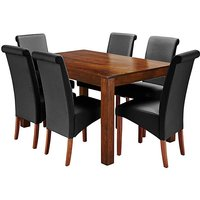 Java Acacia Dining Table with 6 Chairs.