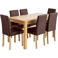 Oakham Table 6 Mia Faux Leather Chairs.