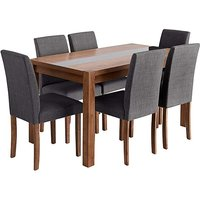 Oakham Glass Panel Dining Table 6 Chairs