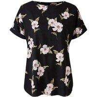 Petite Black Floral Drop Shoulder Blouse