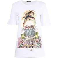 Koko White Longline Graphic T-shirt