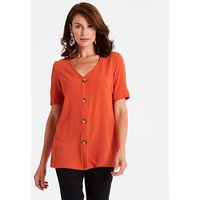 Orange Button Front Blouse