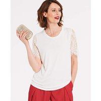 Ivory Lace Sleeve T-shirt